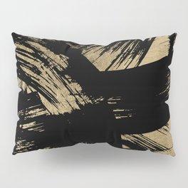 Elegant black faux gold modern brushstrokes pattern Pillow Sham