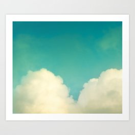 Teal Turquoise Nursery Love Photography, Aqua Heart Cloud, Abstract Sky Nature Photo Art Print