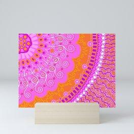 Mandala ~ Hot Pink & Orange Mini Art Print