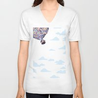 pixar V-neck T-shirts featuring disney pixar up.. balloons and sky with house by studiomarshallarts