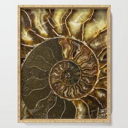 Earth treasures - Brown and yellow ammonite Serving Tray