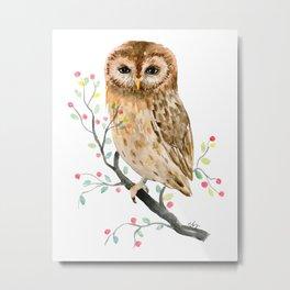 Watercolor Little Owl Portrait Metal Print