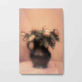 Pink roses in vintage metal jar Metal Print