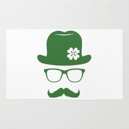 St Patricks Day Green Derby Moustache Hipster Design Rug
