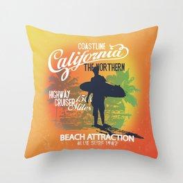 California Blue Surf Throw Pillow