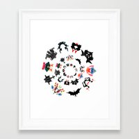 psychology Framed Art Prints featuring Rorschach test subjects' perceptions of inkblots psychology   thinking Exner score  by Luxorama