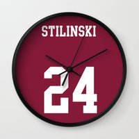 stiles stilinski Wall Clocks featuring STILINSKI - 24 by Mobscene93