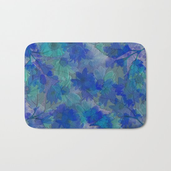 Painterly Midnight Floral Abstract Bath Mat