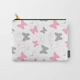 Pink Gray Butterfly Carry-All Pouch