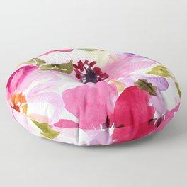 Watercolor Flowers Pink Fuchsia Floor Pillow