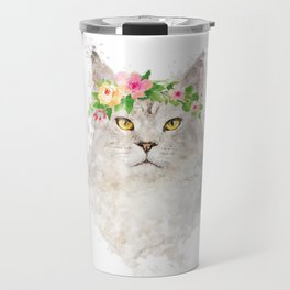 Boho cat portrait with flower crown Travel Mug