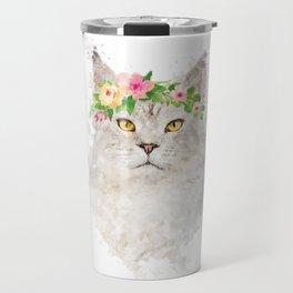 Boho cat portrait with flower crown Travel Mug