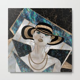 Woman in striped Hat - Gold and Abalone Metal Print