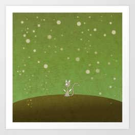 Small winged polka-dotted beige cat and spring Art Print