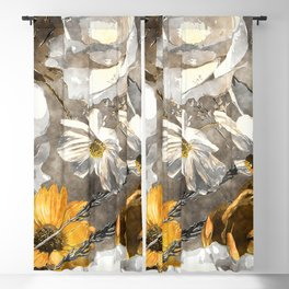 Watercolor floral seamless pattern with white and gold yellow roses and asters Blackout Curtain