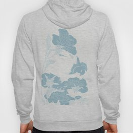 japanese Flowers White and Blue Hoody