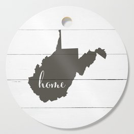 West Virginia is Home - Charcoal on White Wood Cutting Board