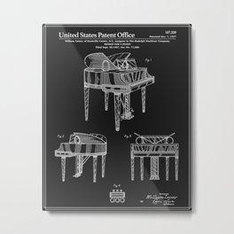 Piano Patent - Black Metal Print