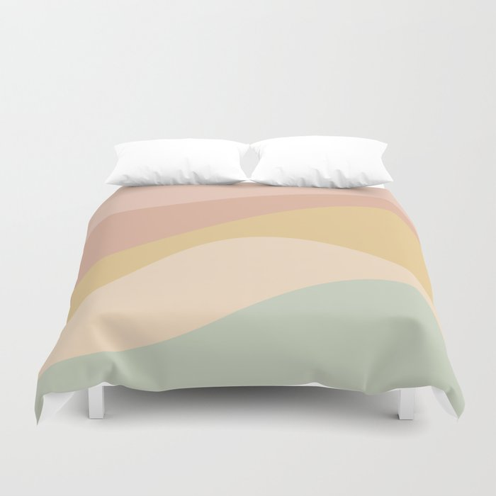 Abstract Color Waves - Neutral Pastel Duvet Cover