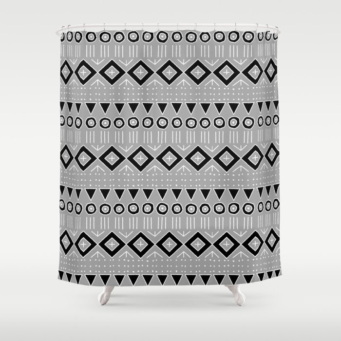Bohemian Mudcloth Style 2 in Gray and Black Shower Curtain