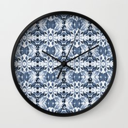 BLUE ABSTRACT LEAVES Wall Clock