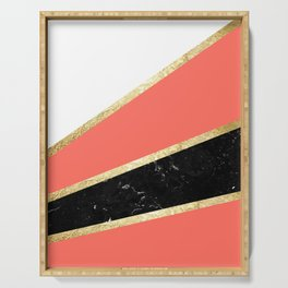 Living Coral, White, Black Marble and Gold Stripes Glam #1 #minimal #decor #art #society6 Serving Tray