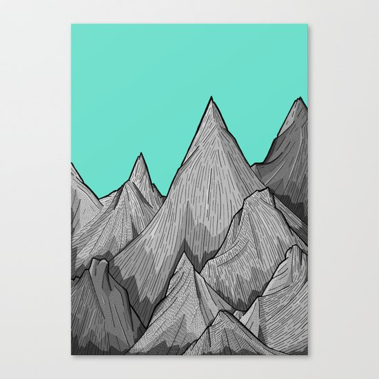 The Green Sky Over The Mountains Canvas Print