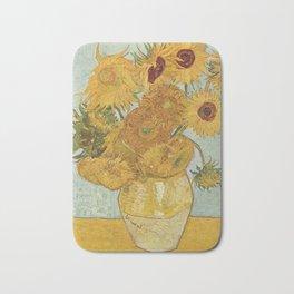 Vase with Twelve Sunflowers, Van Gogh Bath Mat