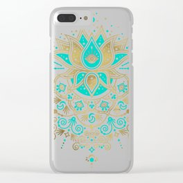 Sacred Lotus Mandala – Turquoise & Gold Palette Clear iPhone Case