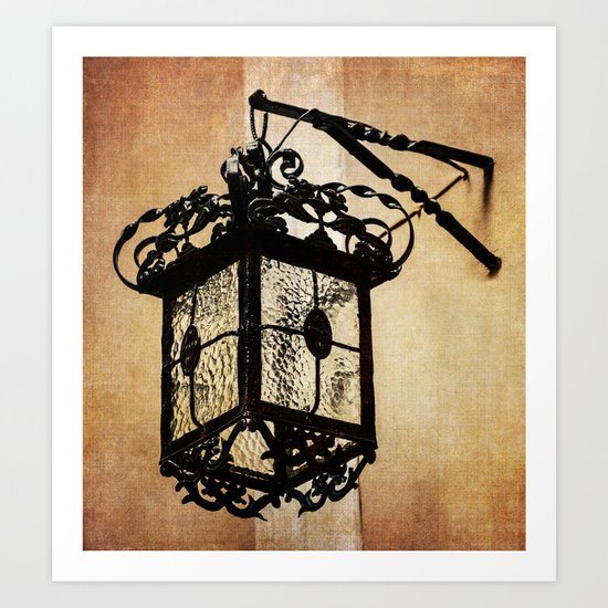Lamp from within courtyard of St Mary the Crowned , Gibraltar Art Print
