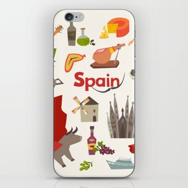 Spain traditional symbols set. Travel tourist element.Traditional spainish corrida, flamenco, guitar iPhone Skin