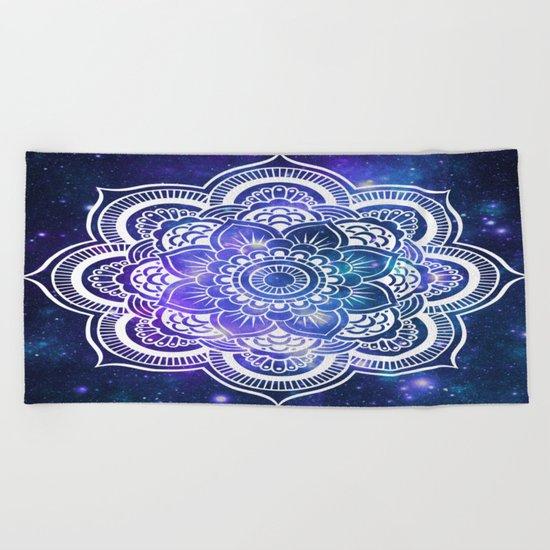 Mandala: Violet & Teal Galaxy Beach Towel