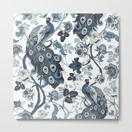 Blue Chinoiserie, peacocks, blue and white, chintz pattern Metal Print