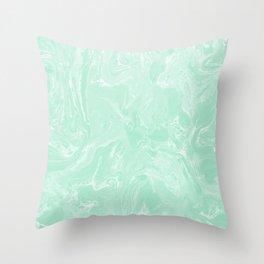 Pastel Mint Green Marble Minimalist Spring Summer Throw Pillow