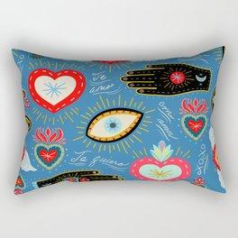 Milagro love hearts - blue Rectangular Pillow