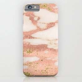 Marble - Rose Gold Shimmer Marble with Yellow Gold Glitter iPhone Case
