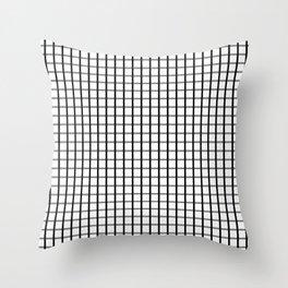 Big squares- Black on White grid pattern Throw Pillow