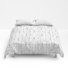 White Rhombus on White Marble Comforters