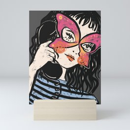 Rotary Phone Butterfly Sunglasses Mini Art Print