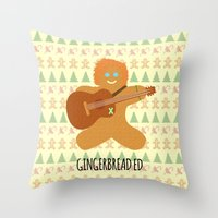 ed sheeran Throw Pillows featuring Gingerbread Ed by Laura Maria Designs