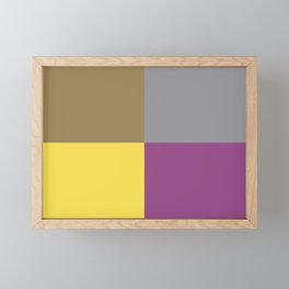 Yellow Gray Brown Purple Geometric Minimal Design Framed Mini Art Print