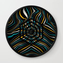 Beautiful color background with striped lines and hexagons Wall Clock