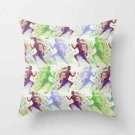 Watercolor women runner pattern Brown green blue Throw Pillow
