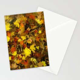 Carpet of Autumn Leaves Painting Style Stationery Cards