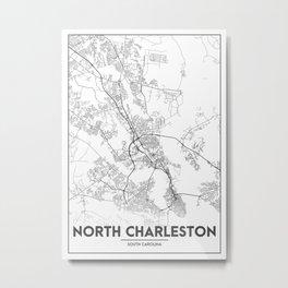 Minimal City Maps - Map Of North Charleston, South Carolina, United States Metal Print