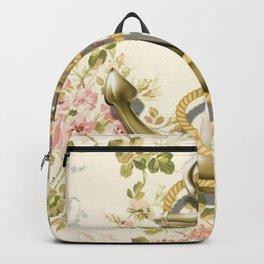 modern vintage beige floral nautical golden anchor Backpack