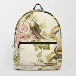 modern vintage beige floral nautical golden anchor Backpack