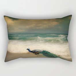 Peafowl On The Beach Rectangular Pillow