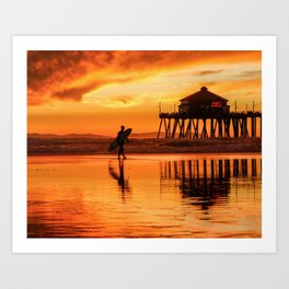 HB Sunset Surfer 12-16-18 Art Print