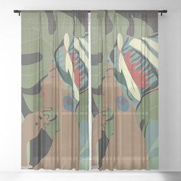 Woman with a Tuban Sheer Curtain